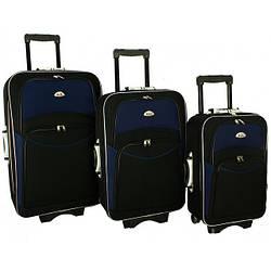 Дорожный чемодан сумка 773 набор 3 штуки черно-т.синий