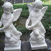 Скульптура Ангела из белого бетона, ангелочек малыш на  памятник