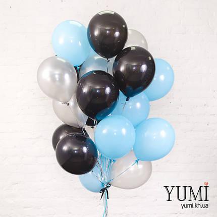 Стильная связка для парня из 20 шаров с гелием, фото 2
