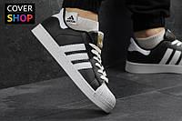 Мужские кроссовки adidas Superstar, черно-белые, материал - прес. кожа, подошва - прошита