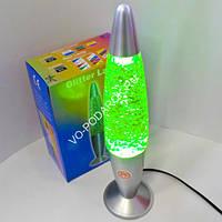 Светильник-релаксант Пуля (лава лампа), с блестками, цвет: зеленый