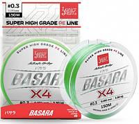 Шнур Lucky John Basara Light Green Х4 PE 150 м #0,6/0,113 мм 5,75 кг (LJ4100-011)