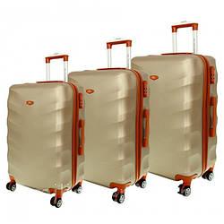 Дорожный чемодан сумка Exclusive набор 3 штуки шампань