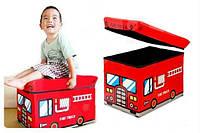 """Пуф-короб для игрушек """"Пожарная машина"""" 49*31*31 см"""