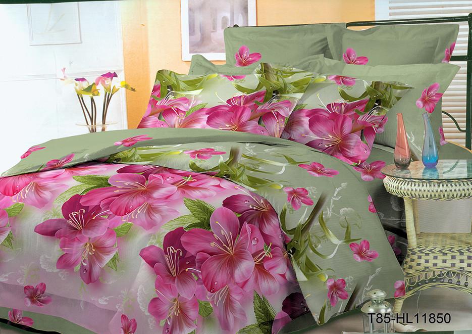 Полуторный комплект постельного 150х220 из полиэстера Розовый Этюд