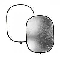 Фото рефлектор - відбивач овальний 2 в 1 розміром 60 см х 90 см (білий - срібний)