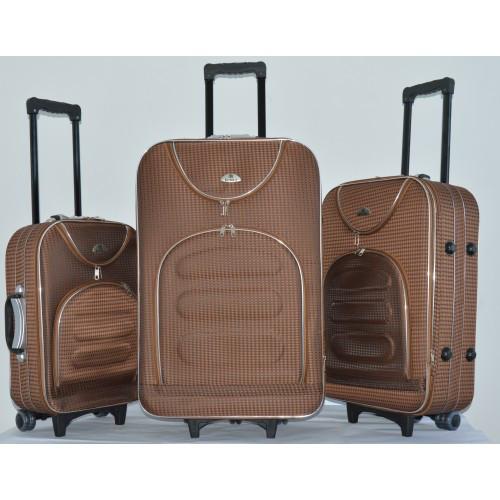 Чемодан сумка дорожный Bonro набор 3 штуки Цвет: coffee клетка