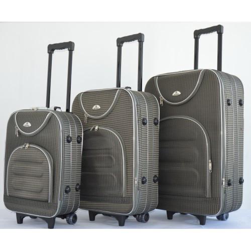 f89fde21669f Чемодан на колесах сумка Bonro набор 3 штуки Цвет: серый клетка -  Интернет-магазин