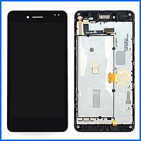Дисплей (экран) для Asus A80 PadFone Infinity + тачскрин, черный, с передней панелью