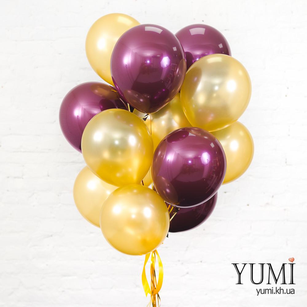 Связка из 15 воздушных шаров с гелием на подарок