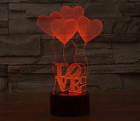 3D светильник сердца 3 цвета