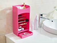 Органайзер для косметики , коробка хранения, белый / розовый