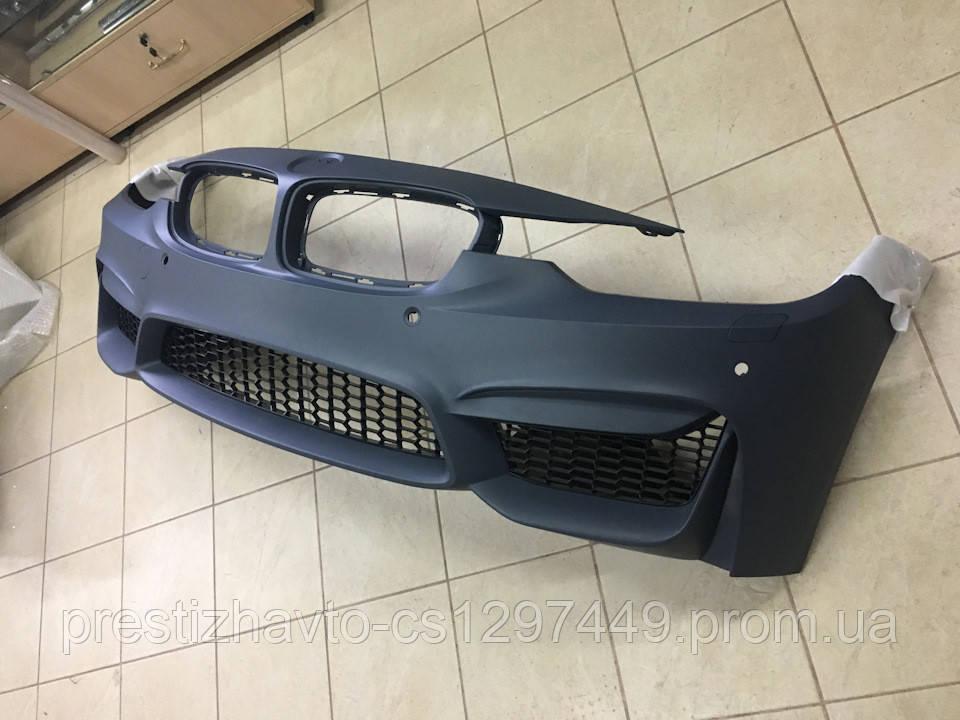 Передний бампер на BMW F30 M стиль (без противотуманок)