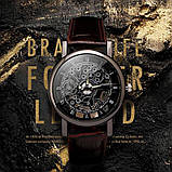 """Часы мужские """"Скелетон"""" коричневые, фото 2"""
