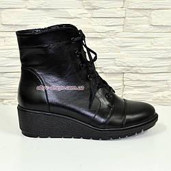 Ботинки женские зимние на невысокой танкетке, натуральная черная кожа.