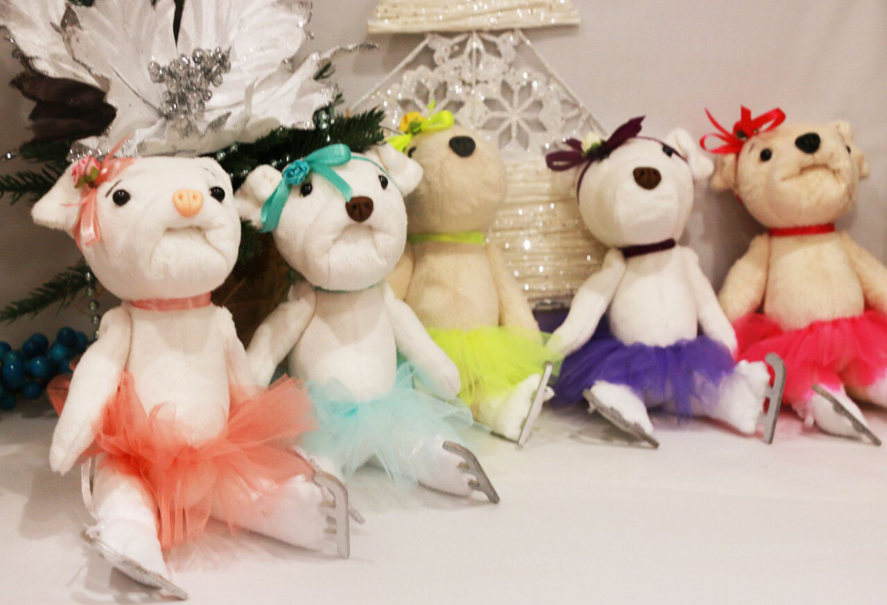 Куклы-тильды мишки фигуристы (разные цвета)