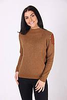 Коричневый женский свитер хорошего качества