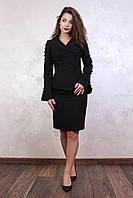 Классический юбочный костюм двойка Шардо черного цвета 56