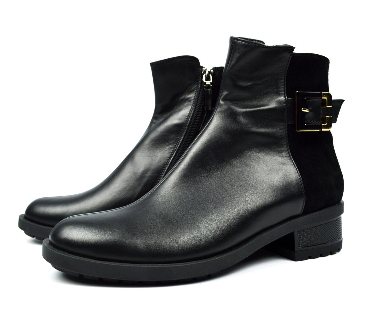 473cc51f6 Черные зимние женские кожаные ботинки PAOLO GIANNI на меху ( шерсть ...