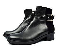 Черные зимние женские кожаные ботинки PAOLO GIANNI на меху ( шерсть )
