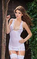 Сорочка с ажурными вставками Kate белая ML, фото 1