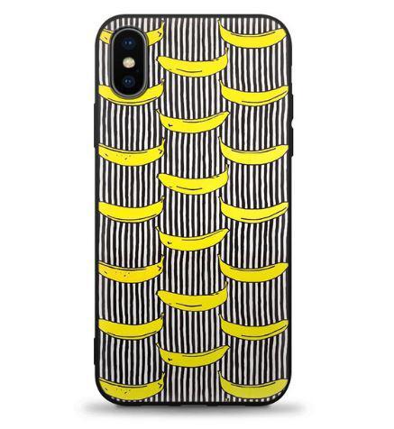 Бампер силиконовый чехол для Iphone X с картинкой Бананы
