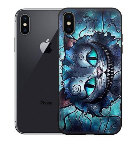 Бампер силиконовый чехол для Iphone X с картинкой Чеширский кот