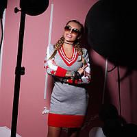 """Серо-красное вязаное платье """"KOSMO"""""""