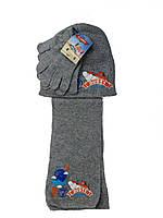 Детский набор для мальчика шарф с шапкой и перчатки