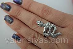 Серебряное кольцо Змея Гюрза, фото 2