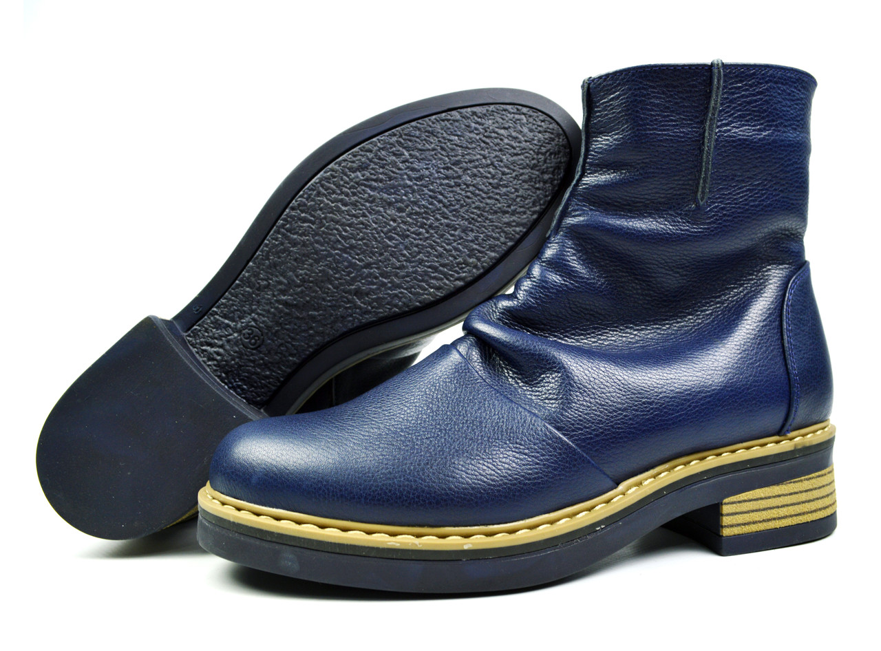 Синие зимние женские кожаные ботинки Ari Andano на меху ( шерсть ) ( Только 36 р. )
