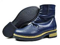 Синие зимние женские кожаные ботинки Ari Andano на меху ( шерсть )
