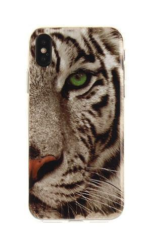 Чехол с картинкой (силикон) для Iphone X Белый тигр