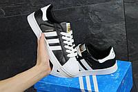 Подростковые кроссовки Adidas Superstar черные с белым