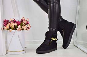 Зимние женские ботинки кеды криперы на меху