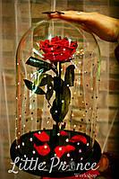 Красная роза в колбе с оригинальными кристалами Swarovski (32см)