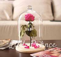 Малиновая роза в стеклянной колбе (32см)