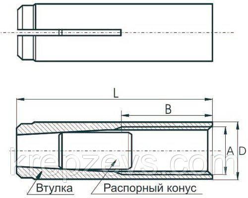 Анкер втулка из стали  - конструкция