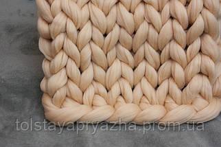 Шерсть для пледа (толстая пряжа) серия Кросс, цвет нежный персик, фото 2