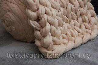 Шерсть для пледа (толстая пряжа) серия Кросс, цвет нежный персик, фото 3