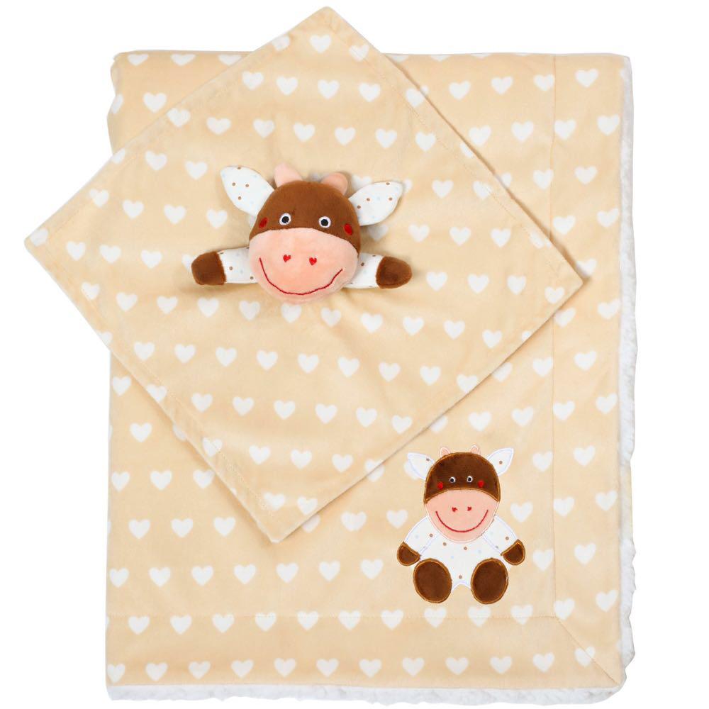 Детское двухстороннее одеялко BabyOno 75х100 см Minky Коровка (1412/04)
