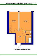 Однокомнатные квартиры 44-48 м2 в  ещё не сданных домах