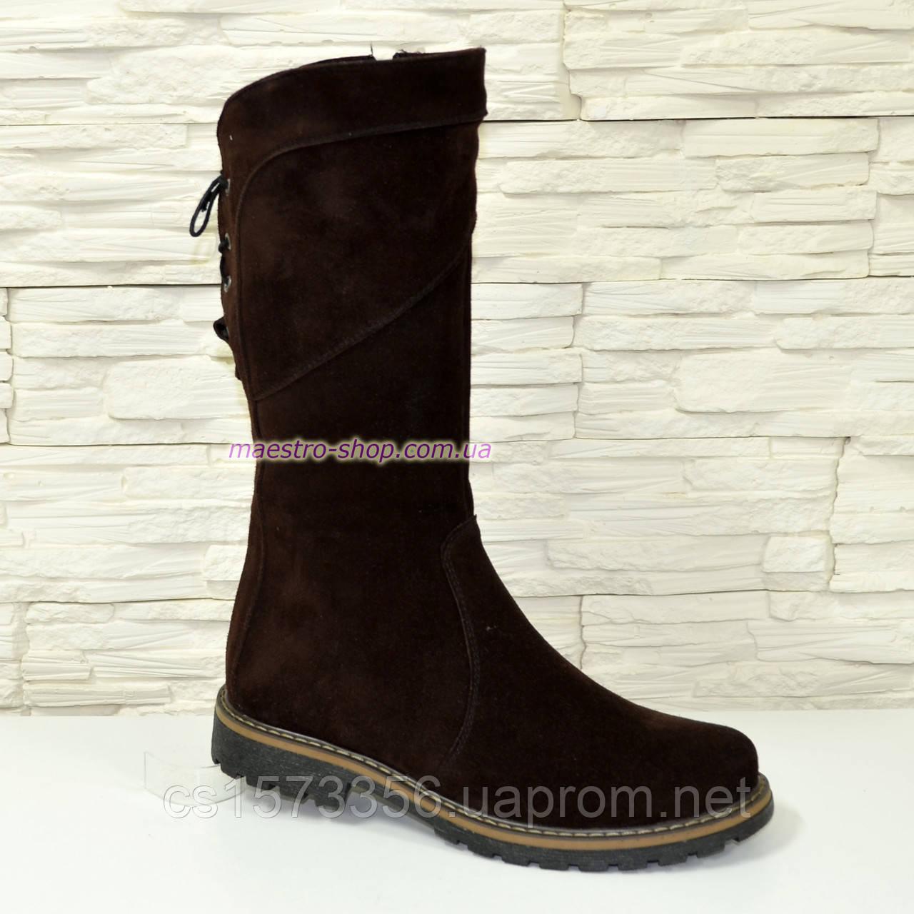 Женские ботинки замшевые коричневого цвета демисезонные