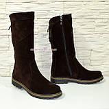 Женские ботинки замшевые коричневого цвета демисезонные, фото 2
