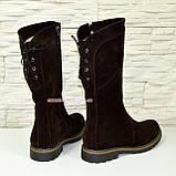 Женские ботинки замшевые коричневого цвета демисезонные, фото 3
