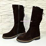 Женские ботинки замшевые коричневого цвета демисезонные, фото 4