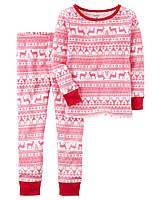 Трикотажная детская пижама с орнаментом и оленями Картерс Carters для девочки, 122,130,137 см