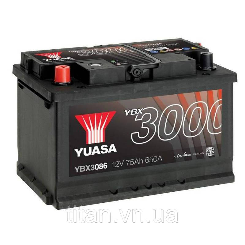 Yuasa 12V 75Ah SMF Battery YBX3086 (левый +)
