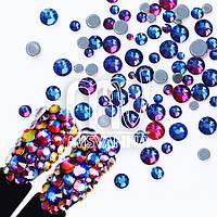 Камни микс размеров стекло 420 шт. синий хамелеон