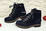 Ботинки женские замшевые зимние на меху, цвет синий, фото 3